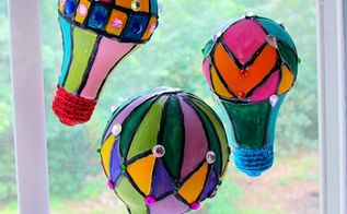 hot air balloon suncatchers, crafts, home decor, repurposing upcycling