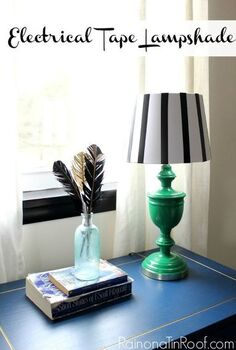 electrical tape lampshade, crafts, home decor, repurposing upcycling, At first I was a little scared of how the black would look with the green but I love it