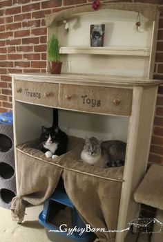 cat condo from destroyed dresser re purrrr posed feline heaven, painted furniture, pets animals, repurposing upcycling