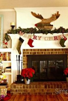 christmas decorating on a budget, christmas decorations, seasonal holiday decor, Rustic Christmas Fireplace Mantle