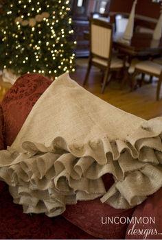 no sew burlap tree skirt, crafts, seasonal holiday decor
