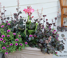 pink flamingos and summer planters, gardening