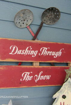 a christmas pew for the patio, christmas decorations, seasonal holiday decor, wreaths, I continued my red theme with the Dashing Through The Snow pallet sign and two vintage Ice fishing dippers