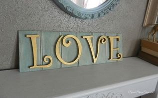 love sign on scrap beadboard, crafts, valentines day ideas, I used acylic craft paint on the beadboard and then applied a glaze to antique it