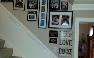 stairway gallery wall, home decor, stairs
