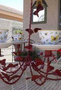 tea cup chandelier, crafts, outdoor living, repurposing upcycling, Alice and Wonderland Chandelier