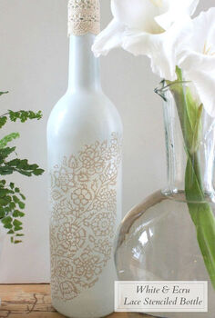 recycle a wine bottle into a pretty vase, crafts, repurposing upcycling, Spray painting a wine bottle gives it a totally different look