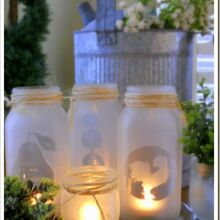 mason jar tealights, crafts, mason jars, patio, Simple spray glass frosting on mason jars