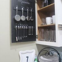 this trick will keep your measuring spoons organized for, chalk paint, chalkboard paint, kitchen cabinets, kitchen design, organizing