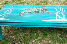 painted turtle coffee table, chalk paint, painted furniture