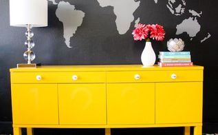 painted wall mural and dresser, painted furniture, The combination of the wall mural and the yellow dresser makes a huge statement