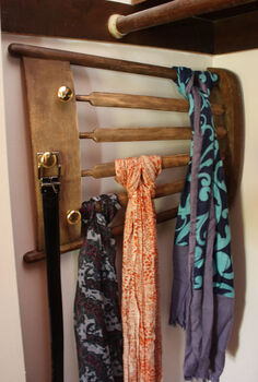 how to upcycle a chair into a scarf rack, repurposing upcycling, Chair back upcycled into a rack to hang scarves