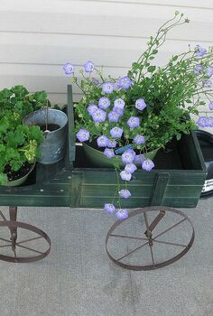 my little wagon planter, flowers, gardening, outdoor living, perennial, repurposing upcycling, my little wagon gets some flowers The purple ones are perennials Geraniums are in the smaller pots