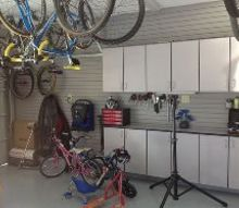 garage shop makeover, garages, storage ideas, simple ceiling hooks hang bikes out of the way