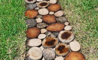 how to create a natural log pathway video, diy, outdoor living, To read how we created this natural log pathway go to
