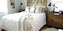 reclaimed wood look headboard, bedroom ideas, woodworking projects