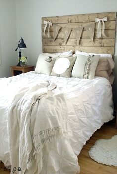 reclaimed wood look headboard, bedroom ideas, woodworking projects