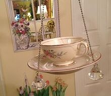 cup and saucer bird feeders, repurposing upcycling, Old cups saucers make pretty bird feeders