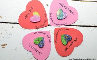 glitter crayon heart valentines day cards, crafts, repurposing upcycling, seasonal holiday decor, valentines day ideas