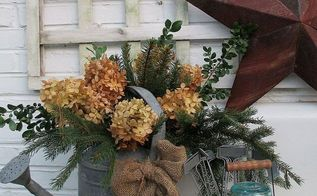 winter holiday decorating, flowers, gardening, hydrangea, outdoor living, seasonal holiday decor, Winter potting sink fresh greens galvanized and dried hydrangea blooms
