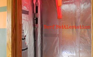 nerf battlestation, closet, repurposing upcycling, the walls are lined in aluminum foils simply put up with aluminum duct tape easy But it looks like a bunker