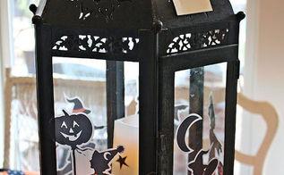 holiday decor halloween, halloween decorations, seasonal holiday d cor, Added H ween stickers to lantern