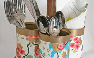 upcycled utensil caddy from a plant stand and tin cans, cleaning tips, crafts, repurposing upcycling