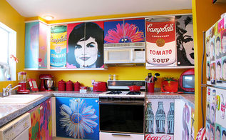 decoupage kitchen cabinets with andy warhol posters, home decor, kitchen cabinets, kitchen design, This is the finished kitchen I love how some posters cover one cabinet and others spread across two cabinets