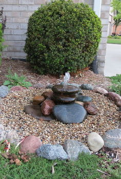 bubbling rock water feature, diy, how to, ponds water features, Fountain after fixing leak and increasing flow