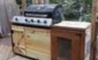 making your grill look built in, diy, outdoor living, woodworking projects, I used pickets at 1 54 you cannot beat the price The new doors and front I had redone since the other wood did not survive abuse and weather