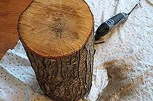 tree stump table, diy, painted furniture, rustic furniture, The process was pretty simple Using my Dremel I sanded the top and bottom of the stump smooth
