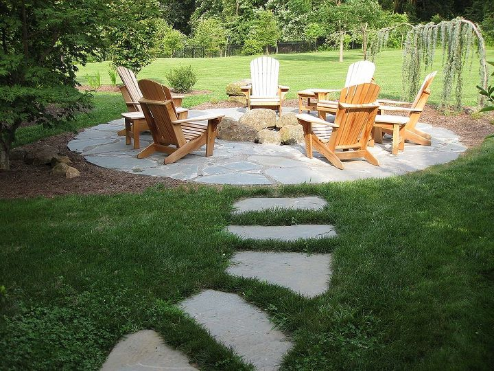 natural flagstone patio amp fire pit, outdoor living, patio, Flagstone  pathway leading to - Natural Flagstone Patio & Fire Pit Hometalk