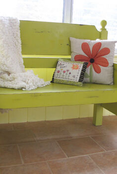 turn that unwanted twin bed into a useful bench, decks, outdoor furniture, painted furniture, repurposing upcycling