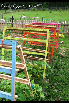 fun funky free garden trellis tomato cage, gardening, homesteading, repurposing upcycling, I used these trellises for training my cucumbers and tomatoes They were constructed of skinny pallets that my husband brought home from work and twine