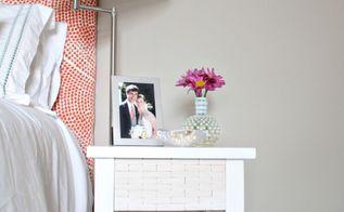 west elm wood tile inspired bedside table makeover, bedroom ideas, home decor, painted furniture
