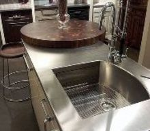 kitchen island countertops, countertops, kitchen design, kitchen island, Stainless Steel Island with built in Butcher Block