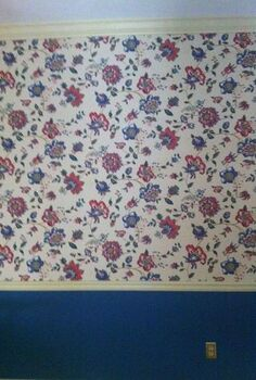 a new library, home decor, shelving ideas, We started with this 80 s flowered wall paper with chair rail and a lower blue paint color in the original dining room
