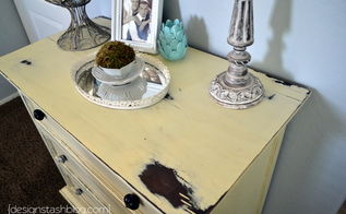 distressed yellow dresser, home decor, painted furniture
