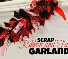 valentine s day scrap ribbon and fabric garland, crafts, fireplaces mantels, seasonal holiday decor, valentines day ideas