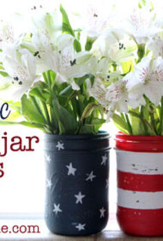 mason jar flag, crafts, mason jars, patriotic decor ideas, seasonal holiday decor