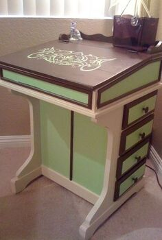 old school desk refurb, chalk paint, home decor, painted furniture, Old school desk after