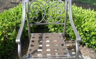 spraying new life into old patio furniture, painted furniture, Chair after paint and new straps were added