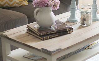 diy planked farm style coffee table, diy, painted furniture, repurposing upcycling, woodworking projects, Table transformation with a planked wood top and brackets