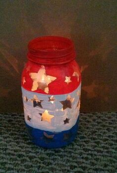 patriotic mason jar luminary, crafts, mason jars, patriotic decor ideas, seasonal holiday decor, Red white and blue star luminary made with a mason jar