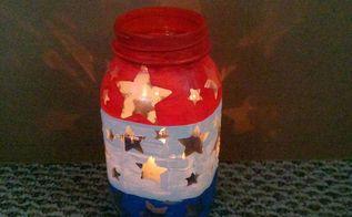 patriotic mason jar luminary, crafts, mason jars, patriotic decor ideas, seasonal holiday decor, Red white and blue star luminary made with a mason jar