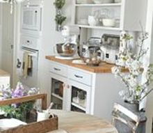 white countertops, countertops, home decor, kitchen design, kitchen island, Original butcher block countertops on baking station