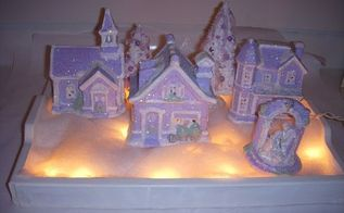shabby chic lilac village, christmas decorations, crafts, decoupage, painting, seasonal holiday decor, shabby chic, Shabby Chic Lilac Village Vignette all lit up
