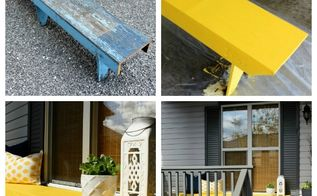 front porch decorating yellow bench makeover, outdoor furniture, outdoor living, painted furniture, rustic furniture, Although the top of the bench was gorgeous it definitely needed some TLC to make it functional