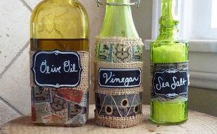 diy kitchen olive oil vineager and sea salt bottle tutorial, chalkboard paint, crafts