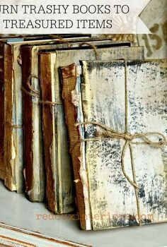 upcycled trashed books to look like antique treasures, home decor, painting, repurposing upcycling, I used Dumpster found books to create these works of art It took very little effort time and skill My favorite kind of project